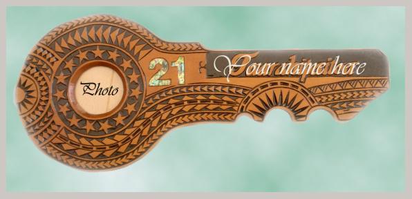Pacific Carving House Carved 21st Keys Samoan 21st Key
